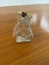 Beautiful Shabby Chic Vintage Metal Bird Cage Christmas Ornament Mistletoe