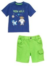 NWT Gymboree STRIPES IN SPACE Monkey Moon Walk Tee Cargo Shorts Outfit Twins 5T