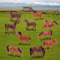 10pcs 1/87 HO Gauge Model Farm Animal Horse Train Building Layout Sand Table