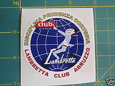 LAMBRETTA  ( Vespa ) Scooter Abruzzo Italia Club Sticker GP,TV,LI,SX,GT. 200 TS1