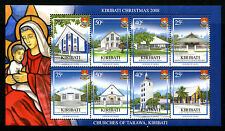 Kiribati 2008 MNH Christmas Churches of Tarawa 8v M/S Architecture Stamps