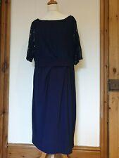 Vestido de fiesta lavitta Azul Marino Equipada Stretch, Superior De Encaje, Espalda en V, Tamaño 20