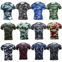 Men's Workout Compression Shirt Gym Running Base Layer Short Sleeve Tops Camo