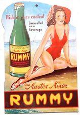 Vtg 1940's Rummy Citrus Bottle Master Mixer Advertising Board Standee Pinup Girl
