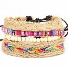 Women Friendship Bracelet Boho Braid Beads Bangle Wrap Bangle Jewelry