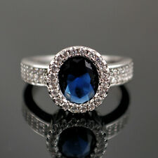 925 Sterling Silver Filled Sapphire Blue & Clear Crystal Ring UK Size L   R13