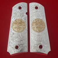1911 Grips Full Size Aztec Nickel Plated COLT 45/38 super Government Commander