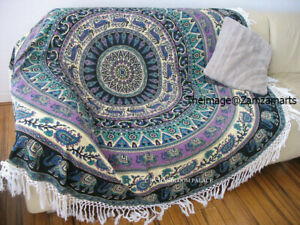 Yoga Meditation Beach Blanket Round Tapestry Picnic Rug Table Covers Yoga Mats