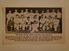 Red Bank Union House New Jersey 1962 Baseball Team Picture RARE!