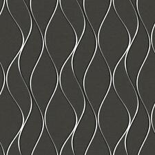 Wallpaper Modern Wavy Wave Metallic Silver Stripe on Charcoal Gray Satin Finish