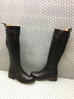 Bed Stu Black Leather Side Zip/Back Lace Knee High Boots Women's Size 6.5