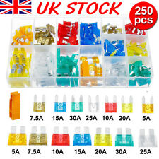 250x Car Fuses Assorted Auto Van Standard Blade Mini Fuse Box Holder 5-30AMP Set