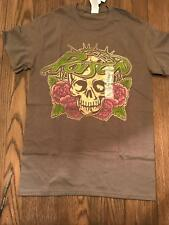 NWT NEW LICENSED LIVE NATION HAIR BAND POISON SKULL & ROSES GRAY T-Shirt SMALL