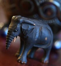 ANTIQUE WOOD HAND CARVED ELEPHANT FIGURINE VICTORIAN 1800'S GLASS EYES 2 1/4""
