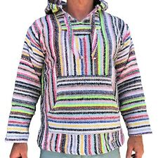 New Mexican Poncho Baja Hoodie Surfer Pullover Made in Mex Unisex Neon Multicolo
