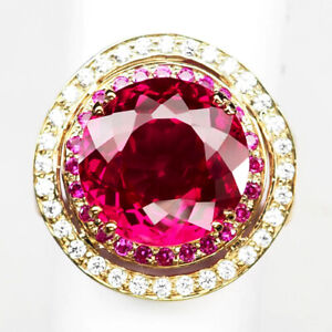 Tourmaline Pink Ring Size 9 Round 8.70 Ct. 925 Sterling Silver Rose Gold Women
