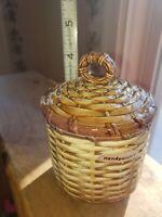 Vintage Otagiri Japan Handpainted Lidded Beehive Honey Jam Jelly Jar excellent