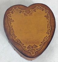 Leather Heart Trinket Box Handmade Vanity Brown Trinket Box