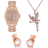 Women Jewelry Set 14K Rose Gold Necklace Earrings Watch Set made with Swarovski
