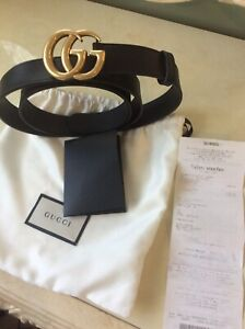 Gucci GG Marmont 30mm Leather Belt In Black Size 100/40 RRP: £320