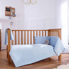 NEW CLAIR DE LUNE DIMPLE BLUE COT / COT BED 3 PIECE BEDDING BALE GIFT SET