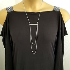 DYRBERG KERN Silver Stainless Lng Pendant Swarovski Crystal Necklace rrp £99 NWT