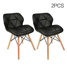 Set of 2 Dining Side Accent Chairs PU Leather Seat Armless Wood Leg Kitchen Home