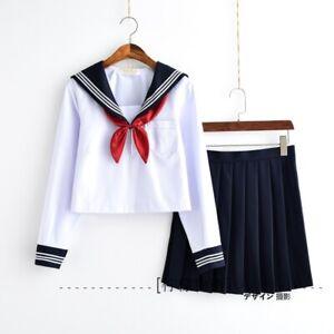 Japanese School Girls Uniform Sailor Suit Blouse + Skirt Seifuku Long Sleeves