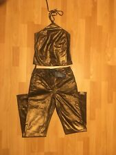 New Womens French Connection Leather Suit Halter Neck and Trouser UK Size 10