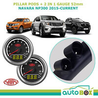 Navara NP300 D23 2015-on SAAS Pillar Pod w/ 2in1 Ex Temp Volts Boost Oil Press
