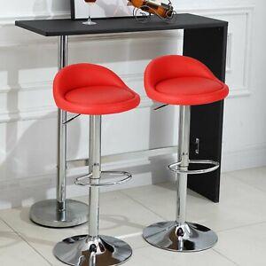 2X Bar Stools Leather Swivel Gas Lift Chair Kitchen Breakfast Pub Red UK