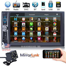 """7"""" 2 DIN IN Dash Car GPS Stereo Video MP5 Player Mirror Link for Android +Camera"""