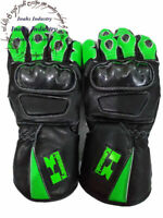 Kawasaki Top Quality Motorbike Original Leather Gloves full Protected