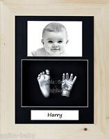 Kit Molde huellas de bebé nuevo regalo Retrato Plata Mano Pie Cast pino natural