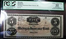 1800s $5 Michigan Insurance Bank Note! Rare, PCGS Certified 55! n55