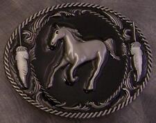 Pewter Belt Buckle animal Running Horse black NEW