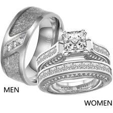 Couple Rings Titanium Steel Mens Band CZ White Gold Filled Women's Wedding Ring