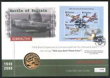 2000 - Aviation Coin FDC -  60th Ann.Battle of Britain - £5 Coin Gibraltar Pmk