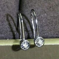 Real 14K White Gold Certified 2.00 Ct Round Cut Moissanite Drop/Dangle Earrings
