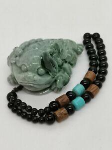 Green Natural Jadeite Jade Golden Toad Hand Piece/精雕(财源滚滚)金蟾天然翡翠手把件