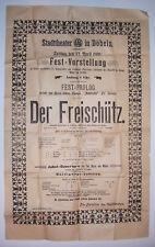 Aushang Cartel Stadttheater Döbeln 1898 el Freischütz! ( Di.