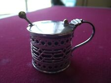 ANTIQUE SILVER MUSTARD POT WITH SPOON