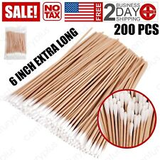 200 Pcs Long Wooden Cotton Swabs, Cleaning Sterile Sticks With Wood Handle for O