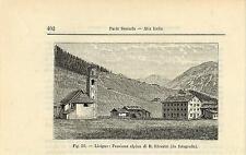 Stampa antica LIVIGNO Pensione Alpina Sondrio Valtellina 1896 Old antique print