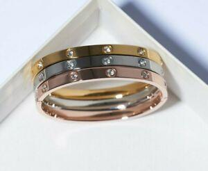 Love Bracelet Gold Plated Cubic Zirconia Cuff Hinge Bracelet Rose Gold White New