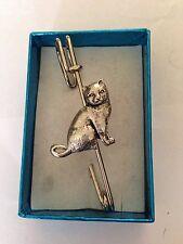"British Short Hair Cat PP Pewter Emblem on a Kilt Pin Scarf or Brooch 3"" 7.5 cm"