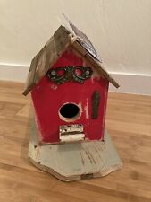 Handmade Large Bird House Vintage Reclaimed Materials Barn Wood Red & Brass