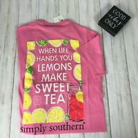 NEW NWT Women's Simply Southern T-Shirt sz S pink short sleeve