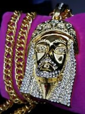JESUS PIECE ICED Pendant Hip Hop Simulated diamond Cuban Chain 18K Gold Plated