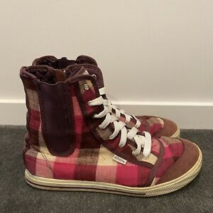 Womens Etnies Shoes High Top Checkered Pink Size US 9 EUR 40
